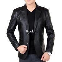 Mens Business Blazers Pu Leather Jacket Coat Two-button Lapel Slim Fit Outwear