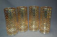 Elegant Clear Glass Gold Lines Ice Tea Tumblers 4PC