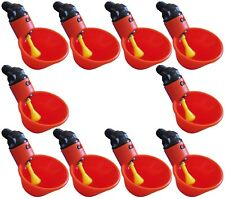 (10) AUTOMATIC WATERER DRINKER CUPS CHICKEN COOP POULTRY CHOOK BIRD TURKEY DRINK