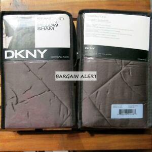 DKNY Diamond Tuck Charcoal Gray Euro Pillow Shams x 2 Brand NEW