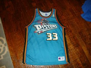 Vintage 90's NBA Detroit Pistons Grant Hill Gold Logo Champion Jersey 48