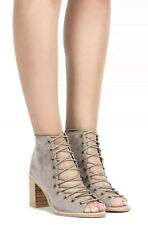 NEW Jeffrey Campbell Cors Lace Up Taupe Leather Booties Size 7.5 Boots Heels