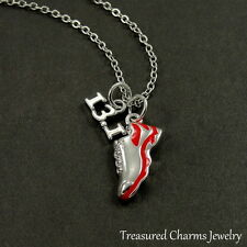 13.1 Half Marathon Red Running Shoe Necklace - Silver and Red Runner Charm