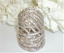 Stunning Womens Seta Size 9 CZ Fashion Silver Color Cocktail Highway Ring