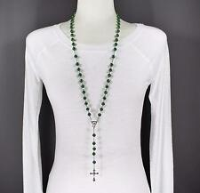 """Green glass bead beaded rosary silver cross 30"""" long necklace faux pearl"""