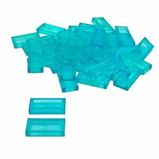 35 NEW LEGO Tile 1 x 2 with Groove Trans-Light Blue