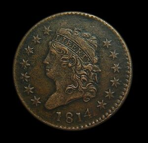 1814 Classic Head Large Cent AU Details Amazing Sharp Strike Rare this Nice!!!