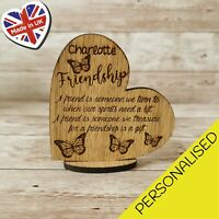 Friendship Personalised  Heart Stand Up Plaque Gift Butterfly Engraved Any Name