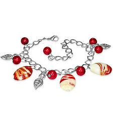 Red White Pearl Glass Bead Leaf Leaves Charm Bracelet nickel free jewellery UK