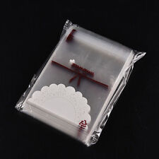 100x Lace Self Adhesive Cookie Candy Package Gift Bags Cellophane Birthday EES