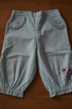 CHEROKEE Baby Girls Pastel Turquoise Combat Trousers Flowers Details 9-12 Months