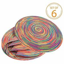 Christmas Gift Set of 6 Braided Colorful Round Place Mats for Kitchen Table