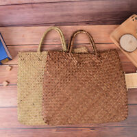 summer women beach bag straw large woven handbag casual flower lady tote bag N_N