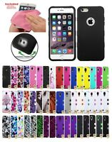 Hybrid Rubber Hard Skin TUFF Protective Tough Case Cover Bundle For Apple iPhone