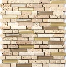 Natural Earth Colours Glass Stone Bathroom Brick Shape Mosaic Tiles Sheet MT0133