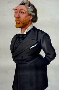 A.J. Otway 1879 HE KILLED the CAT VANITY FAIR APE Pelligrini Caricature Matted