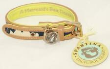"""Spartina - Amelia Dog Collar S 10""""-12"""" Navy White Blue Green Linen Leather *NEW"""