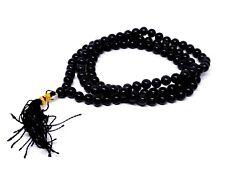 Natural Black Tourmaline Mala Beads Japa Prayer 108 Bead Meditation Rosary