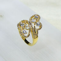 18K Yellow Gold Filled AAA Clear CZ Women Vintage Jewelry Ring R7212 Size 5-10