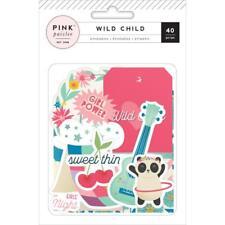 Pink Paislee Wild Child - Die Cuts Ephemera w Blue Foiling - Girl