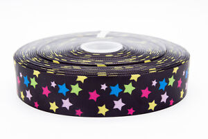 "Rainbow Stars 75mm 3"" Grosgrain Ribbon per meter"