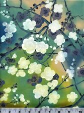 """Fabric #2275, Blossoms on Blue Green Beige Kona Bay, End of Bolt @ 2 Yards + 3"""""""