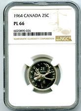 1964 CANADA 25 CENT SILVER QUARTER NGC PL66 PROOF LIKE RARE