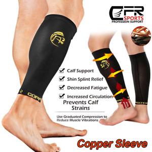 COPPER Compression Calf Sleeve Running Leg Support Brace Sport Shin Splint Socks
