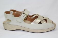 Earthies By Earth Women's Malina Low Wedge Sandals Size 10B Bone Suede Leather