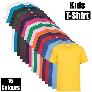 Kids Fruit Of The Loom Boys Girls School PE Uniform T-Shirt Plain Tee Casual Top