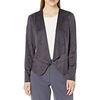 MSRP $129 Anne Klein Women's Suede Drape Front Peplum Jacket Black Size XL