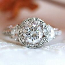 2.50 CT Vintage Moissanite Engagement Ring 14K White Gold Excellent Round Cut