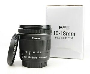 Canon EF-S 10-18mm Image Stabiliser F4.5-5.6 IS STM Zoom Lens Boxed + Caps  EXC