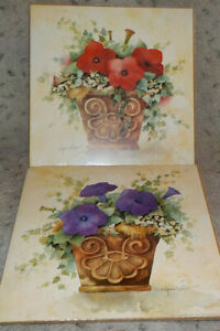 """Pair country potted petunia (red, purple) art prints by Annie LaPoint 10""""square"""