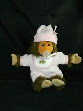 Vintage Hosung Baby Chimp Monkey Plush Toy Pink Flower Bib Outfit 1994 Pacifier