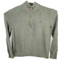 Men's POLO RALPH LAUREN 1/4 Zip Pullover Sweater Size XL Gray 100% Cotton