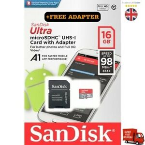 SanDisk Ultra Micro SD 16GB Class 10 Memory Card+ Free Adapter Mobile Cell Phone