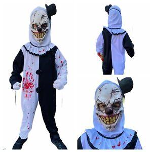 Kids Scary KillerClown Costume Art Terrifying Boys Halloween Fancy Dress Outfit