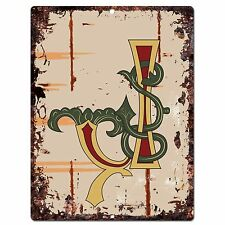PP0518 Alphabet Medieval Initial Letter J Chic Sign Bar Shop Store Home Decor