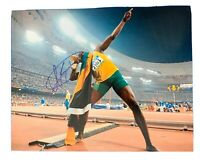 USAIN BOLT Original Signed Autographed 11X14 SUMMER OLYMPICS Photo COA Auth 01