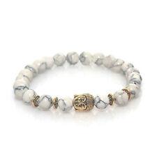 Gold Buddha Charm Bracelet White Marble Lava Stone by Maya Bracelets W/ Bag!