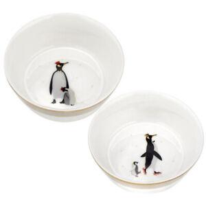 Sara Miller for Portmeirion Christmas Set of 2 Porcelain Penguin Bowls - Boxed