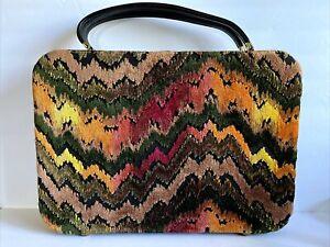 Vintage 60's Mod Colorful Zig Zag Chenille Hard Luggage Travel Suitcase