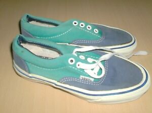 vintage shoes vans made in usa new 1980  blue green - outsole 23 centimetres new