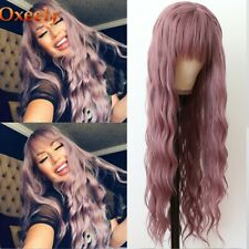 24inch Cosplay wig with bangs Heat resistant hair Purple Potato Fashion