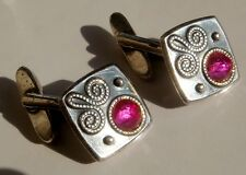 VINTAGE RUSSIAN 875 STERLING SILVER RUBY CUFFLINKS 10,9 gr
