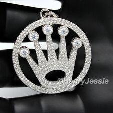 MEN 925 STERLING SILVER LAB DIAMOND ICED OUT BLING HIP HOP CROWN PENDANT*SP11