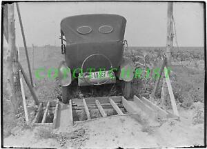 1923 Glass Plate Negative KANSAS AUTOMOBILE Crossing CORN FIELD Irrigation Ditch