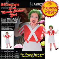 CK939 Red Candy Maker Willy Wonka Wig Oompa Loompa Book Week Girls Kids Costume