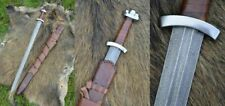 Custom Hand Made Damascus Steel Viking Style Sword With leather sheath Movie